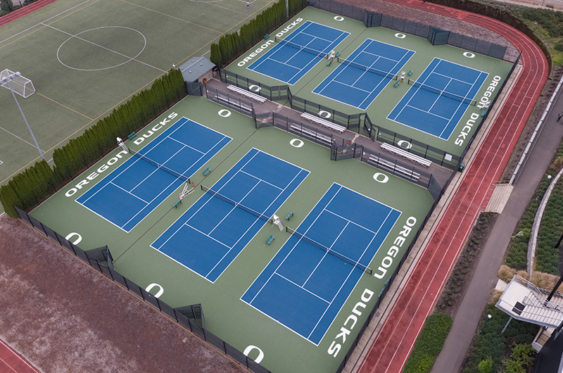Aerial photo of outdoor tennis courts.